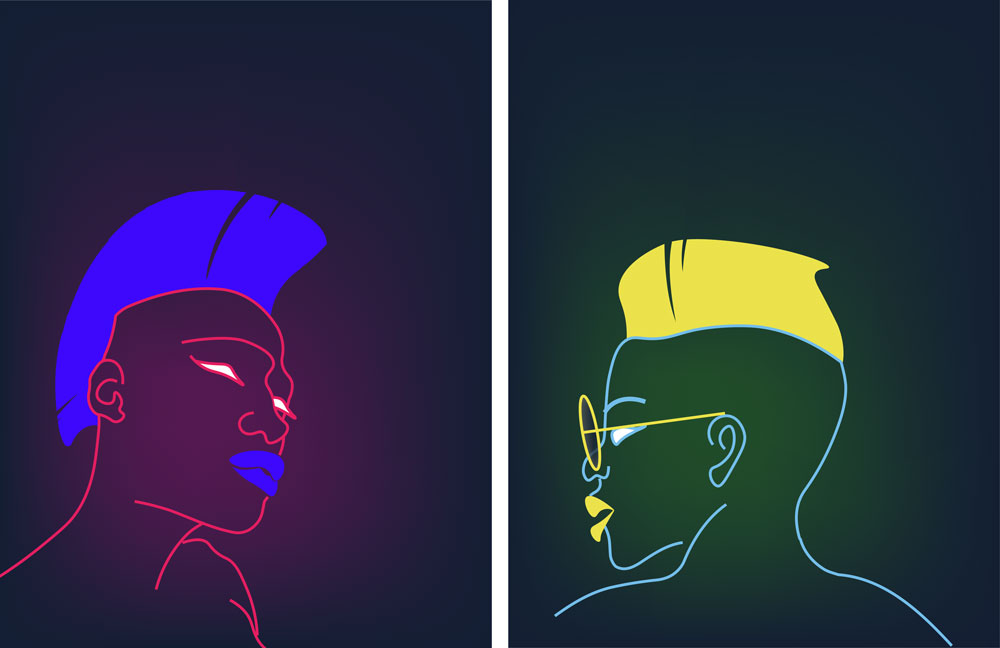 neon style portraits of punk figures